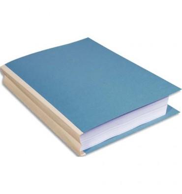 EXACOMPTA Paquet de 25 chemises à dos toilé, carte 320g, dos 3 cm, 24 x 32 cm, coloris bleu