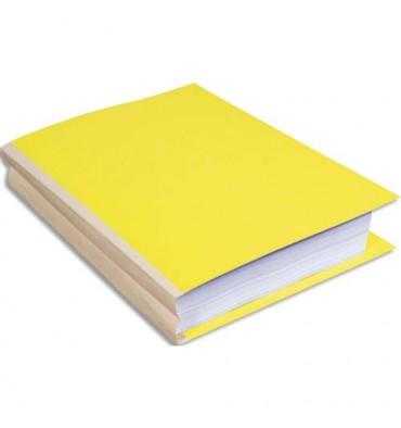 EXACOMPTA Paquet de 25 chemises à dos toilé, carte 320g, dos 3 cm, 24 x 32 cm, coloris jaune
