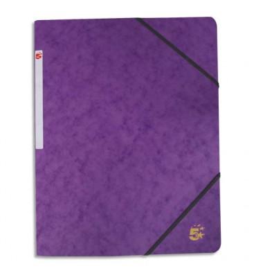 5 ETOILES Chemise simple à élastique en carte lustrée 5/10ème, 450g. Coloris violet