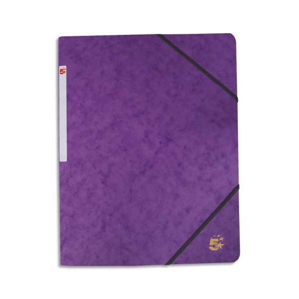 5 ETOILES Chemise simple à élastique en carte lustrée 5/10ème, 450g, coloris violet (photo)