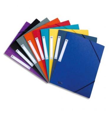 ELBA Chemises 3 rabats et élastique Eurofolio, en carte lustrée 5/10e coloris assortis