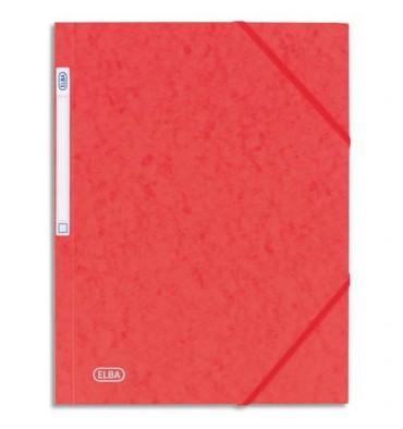 ELBA Chemise 3 rabats et élastique Eurofolio, en carte lustrée 5/10e rouge