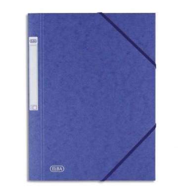 ELBA Chemise 3 rabats et élastique Eurofolio Prestige, en carte lustrée 7/10e bleu