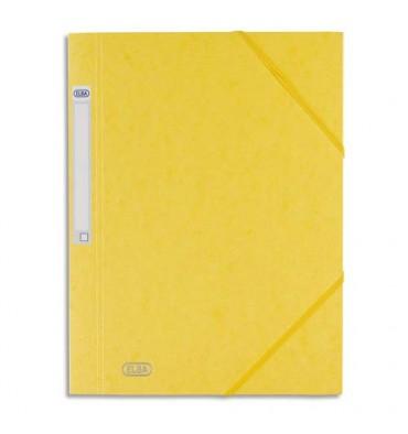 ELBA Chemise 3 rabats et élastique Eurofolio Prestige, en carte lustrée 7/10e jaune