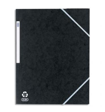 ELBA Chemise à 3 rabats et élastiques en carte lustrée TOP FILE, format A4, coloris noir