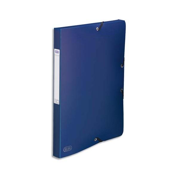 ELBA Boîte de classement Memphis 3 rabats et élastique, dos formé 2,5 cm, polypropylène 7/10e bleu