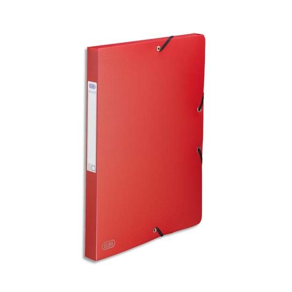 ELBA Boîte de classement Memphis 3 rabats et élastique, dos formé 2,5 cm, polypropylène 7/10e rouge