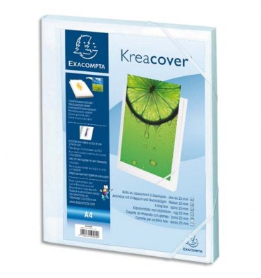 EXACOMPTA Boîte de classement personnalisable KREACOVER dos de 25 mm, A4, polypropylène blanc opaque