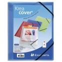 EXACOMPTA Chemise 3 rabats personnalisable 1 face à élastique KREACOVER, coloris bleu transparent