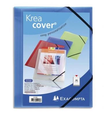 EXACOMPTA Chemise 3 rabats personnalisable 1 face à élastique polypropylène KREACOVER coloris bleu transparent