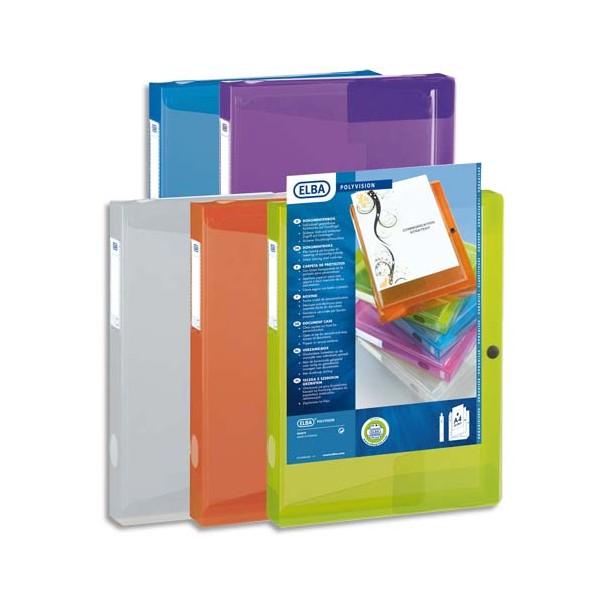 ELBA Boîte de classement transparence personnalisable POLYVISION 24 x 32 cm, dos 4 cm, assortis translucide