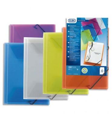 ELBA Chemise 3 rabats et élastique personnalisable POLYVISION, coloris assortis translucide