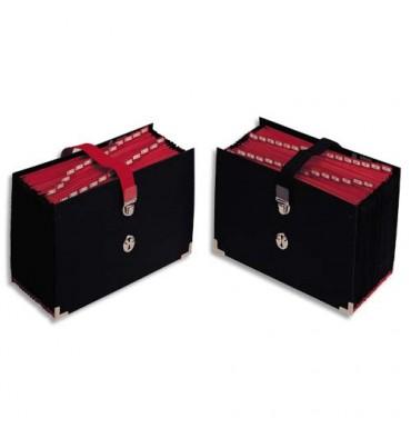 EXTENDOS Trieur de bureau accordéon 25 compartiments noir, couverture toilée, onglets métalliques