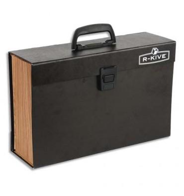 BANKERS BOX Trieur mallette 19 compartiments, structure carton, poignée de transport, fermoir plastique, noir