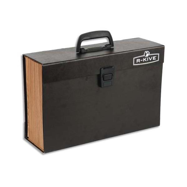 BANKERS BOX Trieur mallette 19 compartiments, structure carton, poignée de transport, fermoir plastique, noir (photo)