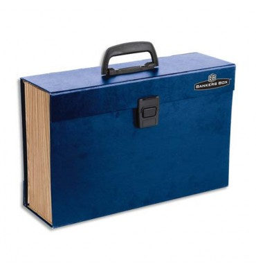 BANKERS BOX Trieur mallette 19 compartiments, structure carton, poignée de transport, fermoir plastique, bleu