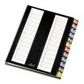 EMEY Trieur alpha-numérique 24 compartiments noir, couverture rigide plastifiée, onglets métalliques