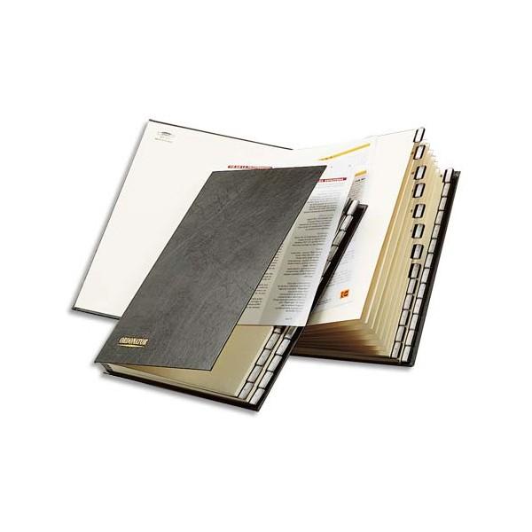 EXACOMPTA Trieur alphabétique 26 compartiments noir, couverture rigide plastifiée, onglets en plastique