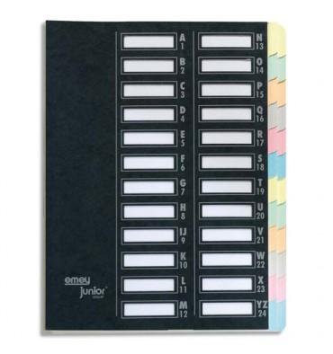 EMEY Trieur EMEY JUNIOR en carte avec système clip, 24 compartiments. Coloris noir
