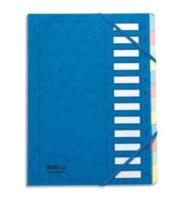 EMEY Trieur EMEY JUNIOR en carte avec système clip, 12 compartiments. Coloris bleu
