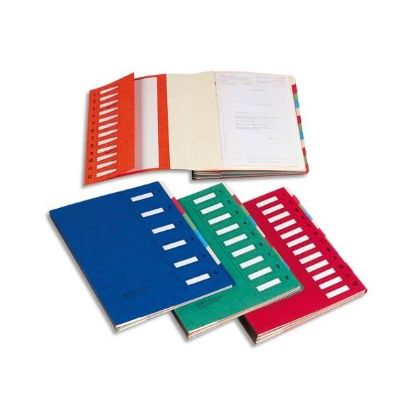 EMEY Trieur EMEY JUNIOR en carte avec système clip, 12 compartiments, coloris rouge