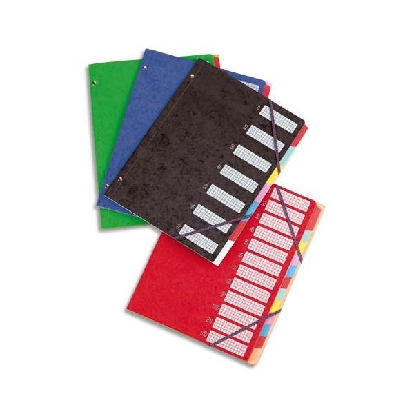 ELBA Trieur 12 compartiments coloris assortis, couverture en carte lustrée 5/10ème bicolore (photo)