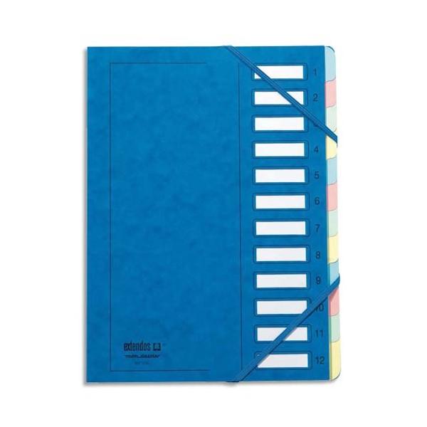 MON DOSSIER Trieur en carte forte pelliculé, dos extensible à 9 compartiments bleu