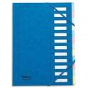 MON DOSSIER Trieur en carte forte pelliculé, dos extensible à 12 compartiments bleu
