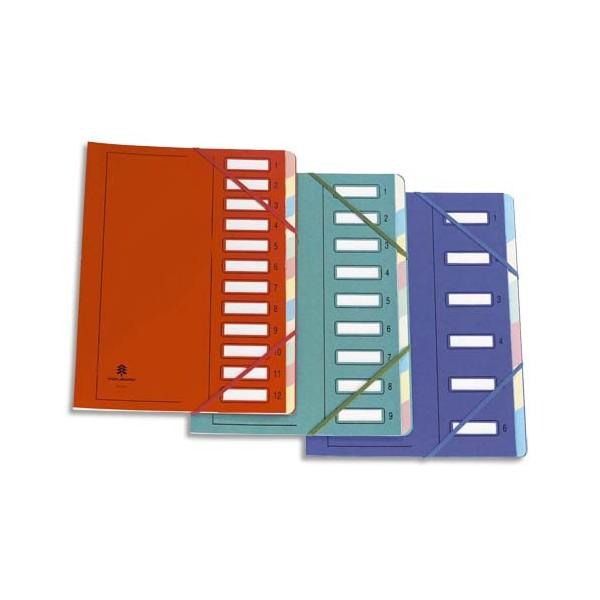 MON DOSSIER Trieur en carte forte pelliculé, dos extensible à 12 compartiments rouge