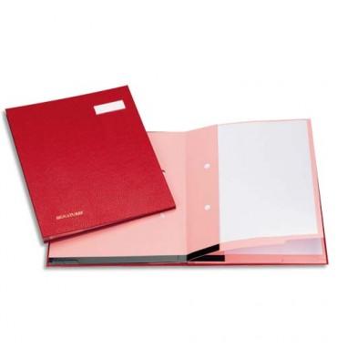 EMEY Parapheur Clip 25 compartiments bordeaux, couverture plastifiée, clip de maintien des documents