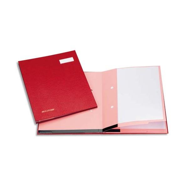 EMEY Parapheur Clip 20 compartiments bordeaux, couverture plastifiée, clip de maintien des documents (photo)
