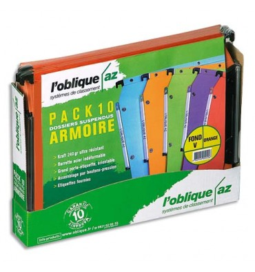 L'OBLIQUE AZ BY ELBA Paquet de 10 dossiers suspendus armoires en kraft 240g. Fond V, bouton-pression. Orange