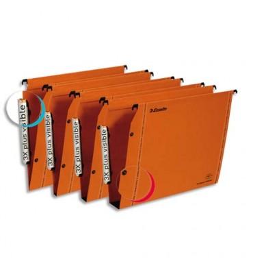ESSELTE Boîte de 25 dossiers suspendus ARMOIRE en kraft 240g. Fond V, bouton-pression. Orange