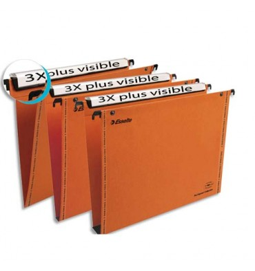 ESSELTE Boîte de 25 dossiers suspendus TIROIR en kraft 240g. Fond V, bouton-pression. Orange