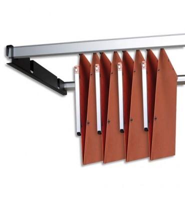 L'OBLIQUE AZ BY ELBA Kit de 2 rails métal gris avec support noir pour dossiers suspendus armoire