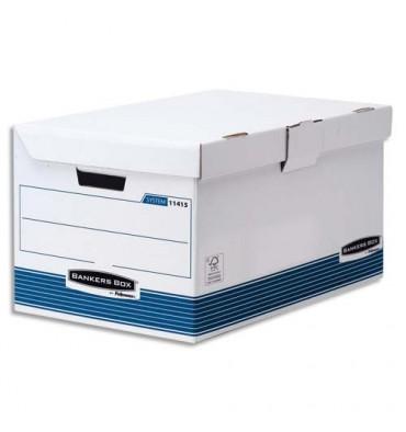 BANKERS BOX Conteneurs archives SYSTEM ouverture dessus, montage automatique, carton recyclé blanc / bleu
