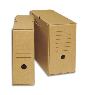 NEUTRE Boîtes à archives eco, dos de 20 cm, en carton ondulé kraft brun