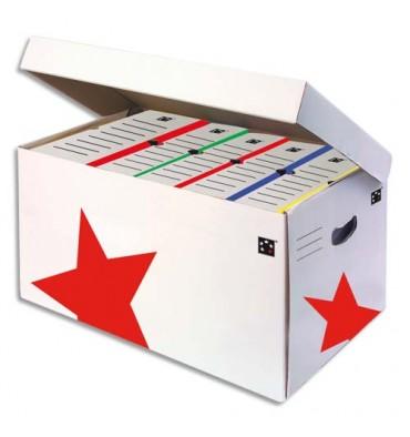 5 ETOILES Conteneurs à archives ouverture sur le dessus, en carton ondulé kraft blanc