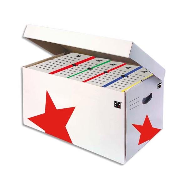 5 ETOILES Conteneurs à archives ouverture sur le dessus, en carton ondulé kraft blanc (photo)