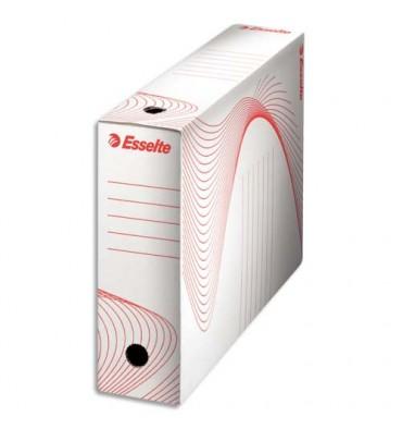 ESSELTE Boîtes à archives, dos de 10 cm, en carton ondulé kraft blanc, conditionnement en caisse carton