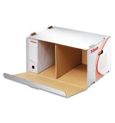 ESSELTE Conteneurs à archives ouverture frontale, en carton ondulé kraft blanc