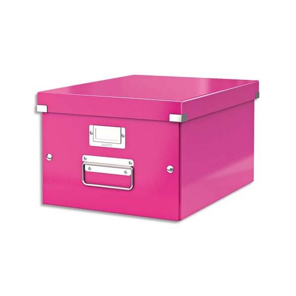LEITZ Boîte CLICK&STORE M-Box. Format A4 - Dimensions : L281xH200xP369mm. Coloris Rose Wow.
