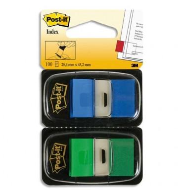 POST-IT Blister de 2 cartes de 50 index marque page 2,54 x 4,4cm bleu et vert