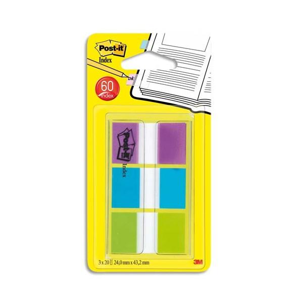 POST-IT Set de 60 index standard dans un dévidoir transparent 2,54 x 4,4 cm Coloris assortis