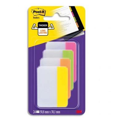 POST-IT Blister de 24 index strong large coloris assortis énergiques 5 x 3,8 cm
