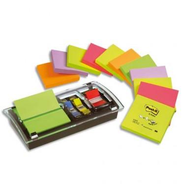 POST-IT support Millenium + 12 blocs Z-notes 7,6x7,6 cm coloris néon + 1 carte 10 index standard 2,54 cm