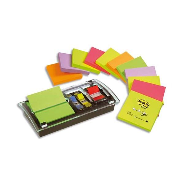 POST-IT Support Millenium + 12 blocs Z-notes 7,6 x 7,6 cm coloris néon + 1 carte 10 index standard 2,54 cm