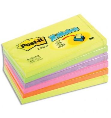POST-IT Lot de 6 Recharges Z-notes 100 feuilles 7,6 x 12,7 cm coloris néon assortis