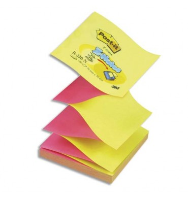 POST-IT Recharge Z-notes 100 feuilles 7,6 x 7,6 cm néon jaune/rose