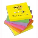 POST-IT Lot de 6 Recharges Z-notes 100 feuilles 7,6 x 7,6 cm coloris néon assortis